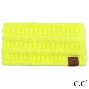 c.c Neon Yellow Ponytail/ Bun Headband